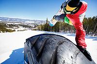 Ricky Bates riding the park at Breckenridge Mountain, Colorado, March 2014.