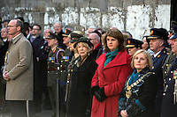 Sabina Higgins and Tánaiste Joan Burton pictured at a wreath laying ceremony at Kilmainham Gaol, where 14 of the leaders of the Rising were executed.<br />Pic:Mark Condren<br />27.3.2016