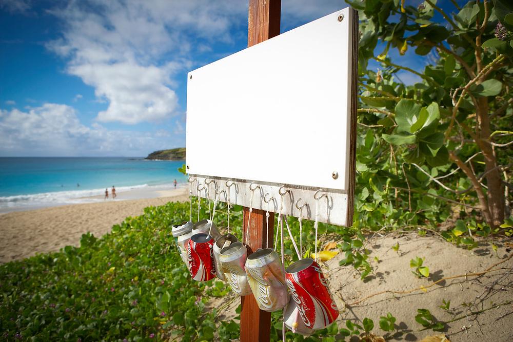 Beach ashtrays, Grand Anse de Saline or Saline Beach, St. Barthelemy, FWI