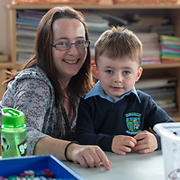 David Dutfield and his mammy Margaret on his first day at school at Liscannor