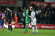 Crystal Palace goalkeeper Wayne Hennessey with his Wales teammate Swansea city capt Ashley Williams at the end of the match. Barclays Premier league match, Swansea city v Crystal Palace at the Liberty Stadium in Swansea, South Wales on Saturday 6th February 2016.<br /> pic by Andrew Orchard, Andrew Orchard sports photography.