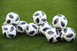 Footballs on the pitch ahead of the International Friendly match at Hampden Park, Glasgow.