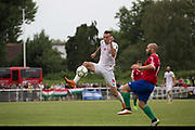 Halil Turan on the attack Northern Cyprus. Karpatalya (RED) beat Northern Cyprus (WHITE) 3 -2 in penalties during the Conifa Paddy Power World Football Cup finals on the 9th June 2018 at Queen Elizabeth II Stadium in Enfield Town in the United Kingdom. Team mates from the Turkish Republic of Northern Cyprus  take on the Hungarians in Ukraine for the CONIFA World Football Cup final. CONIFA is an international football tournament organised by CONIFA, an umbrella association for states, minorities, stateless peoples and regions unaffiliated with FIFA. (photo by Sam Mellish / In Pictures via Getty Images)