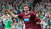 The William Hill Scottish FA Cup Final 2012 Hibernian Football Club v Heart Of Midlothian Football Club..19-05-12...Hearts Darren Barr celebrates scoring the opening goal during the William Hill Scottish FA Cup Final 2012 between (SPL) Scottish Premier League clubs Hibernian FC and Heart Of Midlothian FC. It's the first all Edinburgh Final since 1986 which Hearts won 3-1. Hearts bid to win the trophy since their last victory in 2006, and Hibs aim to win the Scottish Cup for the first time since 1902....At The Scottish National Stadium, Hampden Park, Glasgow...Picture Mark Davison/ ProLens PhotoAgency/ PLPA.Saturday 19th May 2012.