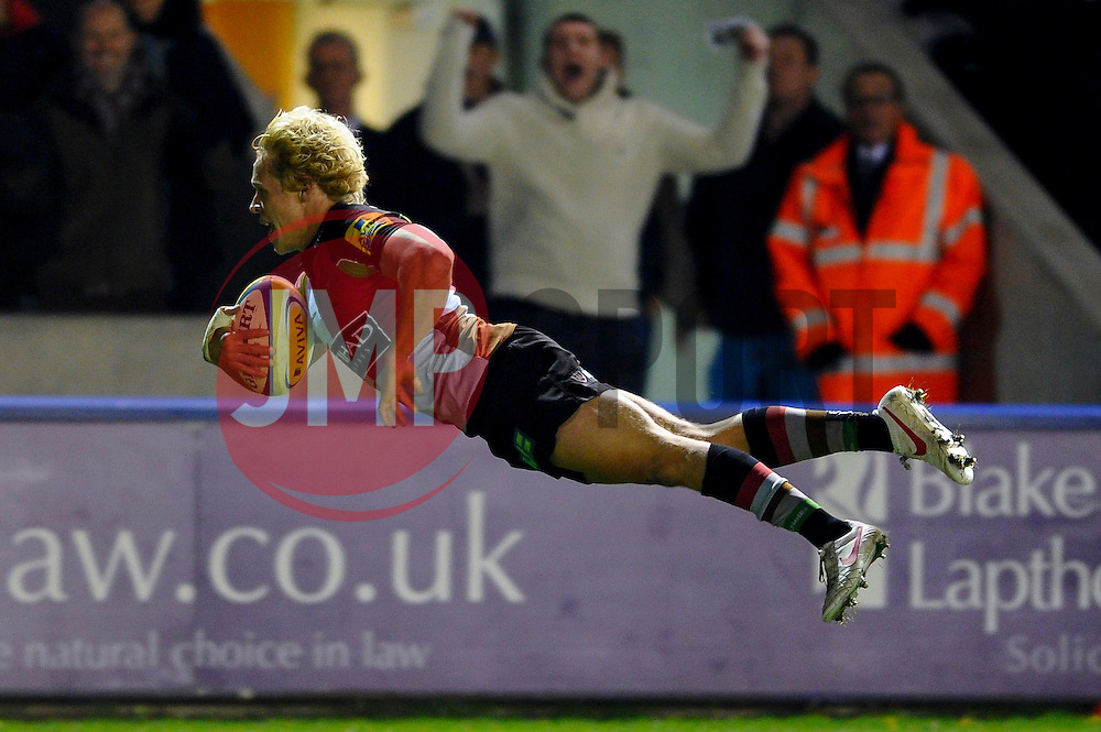 Harlequins Outside Centre (#13) Matt Hopper divers in to score his sides second try during the first half of the match - Photo mandatory by-line: Rogan Thomson/JMP - Tel: Mobile: 07966 386802 03/11/2012 - SPORT - RUGBY - Twickenham Stoop - London. Harlequins v Gloucester - Aviva Premiership