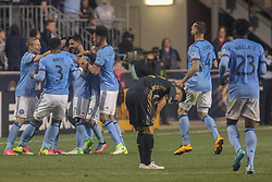 April 14, 2017 - Chester, PA, United States of America - Philadelphia Union Attacker C.J. SAPONG (17) celebrates his goal as New York City FC Attacker DAVID VILLA (7) watches in the first half of a Major League Soccer match between the Philadelphia Union and New York City FC Friday, Apr. 17, 2016 at Talen Energy Stadium in Chester, PA. (Credit Image: © Saquan Stimpson via ZUMA Wire)