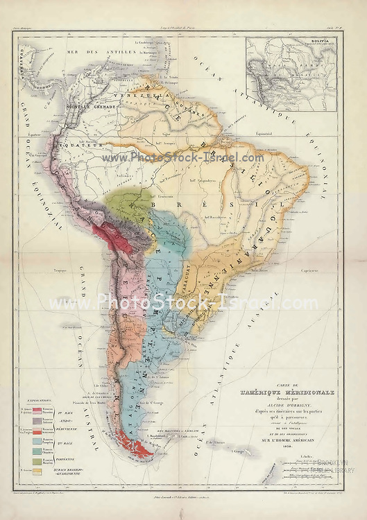 Ancient 19th century map of South America From the book 'Voyage dans l'Amérique Méridionale' [Journey to South America: (Brazil, the eastern republic of Uruguay, the Argentine Republic, Patagonia, the republic of Chile, the republic of Bolivia, the republic of Peru), executed during the years 1826 - 1833] Atlas By: Orbigny, Alcide Dessalines d', d'Orbigny, 1802-1857; Montagne, Jean François Camille, 1784-1866; Martius, Karl Friedrich Philipp von, 1794-1868 Published Paris :Chez Pitois-Levrault. Publishes in Paris in 1846-1847