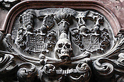 Skull. architectural details on a wall. Photographed in Vienna, Austria