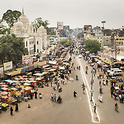 Aerial view over the Charminar district of Hyderabad city.