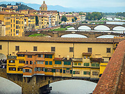 The Ponte Vecchio and other bridges over the Arno river, Florence