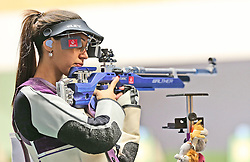 05.09.2015, Olympia Schiessanlage Hochbrueck, Muenchen, GER, ISSF World Cup 2015, Gewehr, Pistole, Damen, 10 Meter Luftgewehr, im Bild Ivana Maksimovic (SRB) konzentriert sich // during the women's 10M air rifle competition of the 2015 ISSF World Cup at the Olympia Schiessanlage Hochbrueck in Muenchen, Germany on 2015/09/05. EXPA Pictures © 2015, PhotoCredit: EXPA/ Eibner-Pressefoto/ Wuest<br /> <br /> *****ATTENTION - OUT of GER*****
