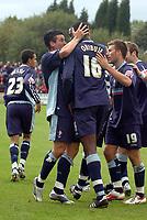 Photo: Paul Greenwood. <br />Accrington Stanley v Swindon Town. Coca Cola League 2. 07/10/2006.<br />Swindon's Lee Peacock (L) celebrates his goal with provider Fola Onibjue (16).