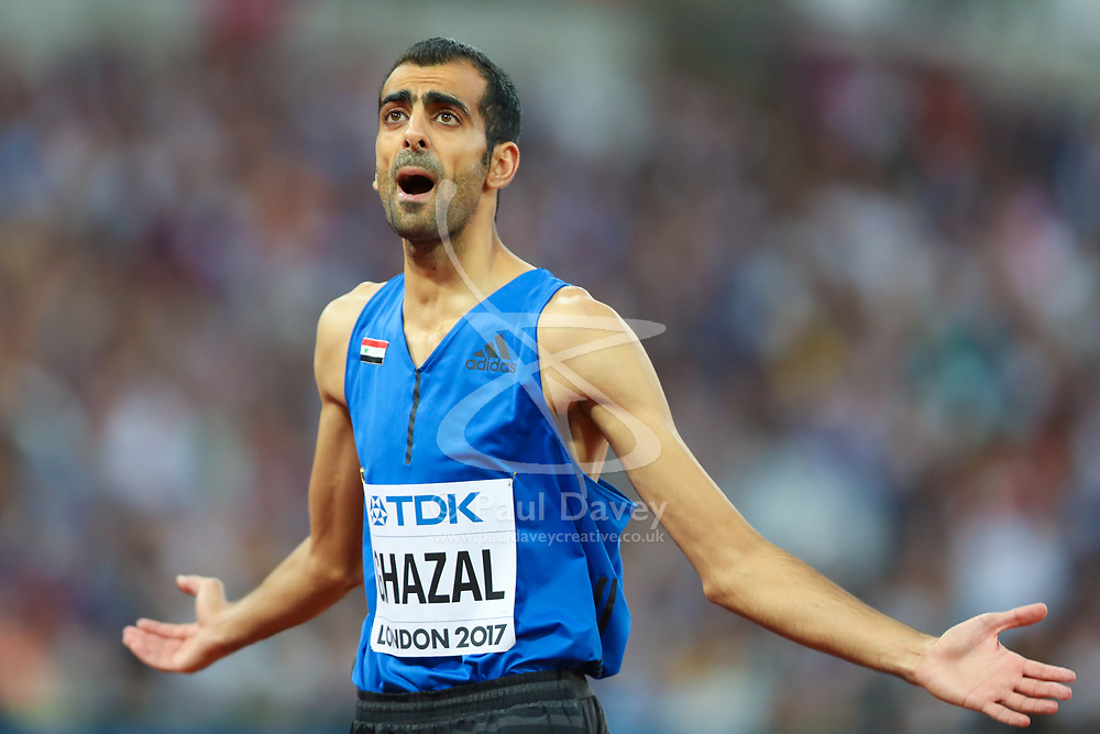 London, August 13 2017 . Majd Eddin Ghazal, Syria, asks the crowd to clap as he prepares to jump in the men's high jump final on day ten of the IAAF London 2017 world Championships at the London Stadium. © Paul Davey.