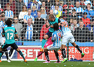Jordan Rhodes of Blackburn Rovers heads home a 2nd goal against his former club Hudders fieldduring the Sky Bet Championship match at the John Smiths Stadium, Huddersfield<br /> Picture by Graham Crowther/Focus Images Ltd +44 7763 140036<br /> 25/04/2015