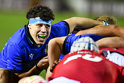 Luca Andreani of Italy at the scrum<br /> <br /> Photographer Craig Thomas/Replay Images<br /> <br /> U20 Six Nations - Wales v Italy  - Friday 31st January 2020 - Stadiwm Zip World (Parc Eirias) - Colwyn Bay<br /> <br /> World Copyright © Replay Images . All rights reserved. info@replayimages.co.uk - http://replayimages.co.uk