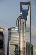 From left to right are: IFC Tower II, IFC Tower I, the Jinmao Tower, the Shanghai World Financial Center and the Shangri-La Hotel stand in the Lujiazui financial district in Shanghai, China on 19 October 2010. Shanghai, China's largest city, is quickly becoming one of the major financial centers of the world.