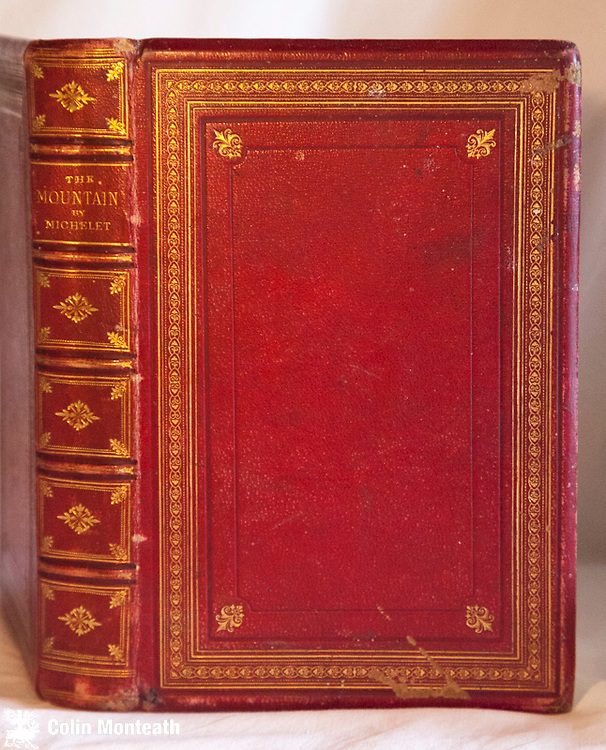 THE MOUNTAIN -  Jules Michelet, Nelson & sons, London, 1st Uk edn., 1872, fine original red leather binding, gilt titles, 54 etchings, fp cut, book prize fep, foxing,  from the author of The Sea, The Bird, The Insect...a series of essays on nature in the mountains, crystals hunters, the structure of glaciers etc...mainly in European Alps but also plates & sections of text on The Himalaya, Java, Spitzbergen Lovely $NZ125