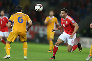 Hal Robson-Kanu  of Wales (r)  in action.Wales v Moldova , FIFA World Cup qualifier at the Cardiff city Stadium in Cardiff on Monday 5th Sept 2016. pic by Andrew Orchard, Andrew Orchard sports photography