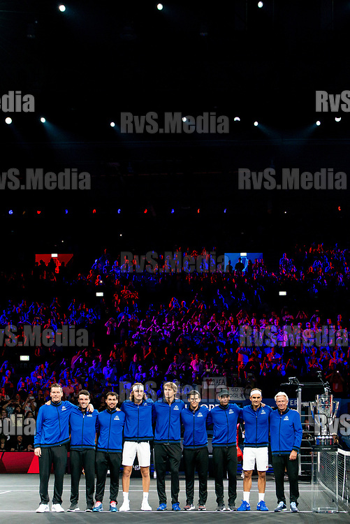 GENEVA, SWITZERLAND - SEPTEMBER 22: Team Europe lines up prior Day 3 of the Laver Cup 2019 at Palexpo on September 20, 2019 in Geneva, Switzerland. The Laver Cup will see six players from the rest of the World competing against their counterparts from Europe. Team World is captained by John McEnroe and Team Europe is captained by Bjorn Borg. The tournament runs from September 20-22. (Photo by Robert Hradil/RvS.Media)