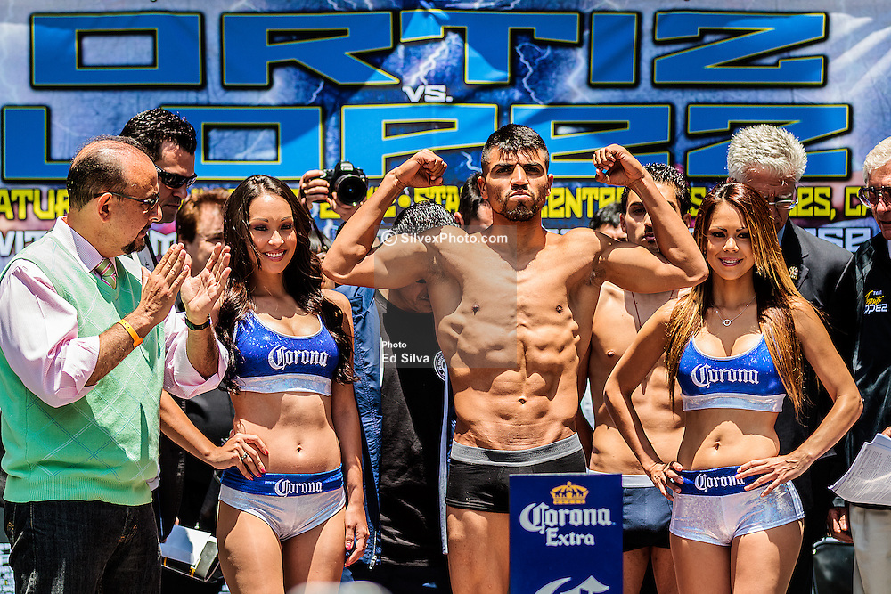 LOS ANGELES - JUNE 22: Former World Champion Victor 'Vicious' Ortiz (29-3-2,22 KO's) of Ventura, Calif at the official Ortiz vs Lopez weigh-in held at the Hollywod Highland Center in Los Angeles,CA. All fees must be agreed prior to publication, Byline and/or web usage link must read PHOTO © Eduardo E. Silva/SILVEX.PHOTOSHELTER.COM Failure to byline correctly will incur double the agreed fee.