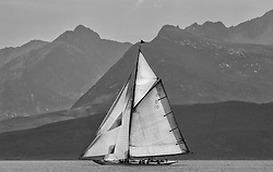 """The Lady Anne, a 15 metre (95') Gaff Cutter built in 1912 under the peaks of Arran.<br /> Limited to ten prints in Black & White, printed on fine art paper 24""""x16"""", stamped and signed."""