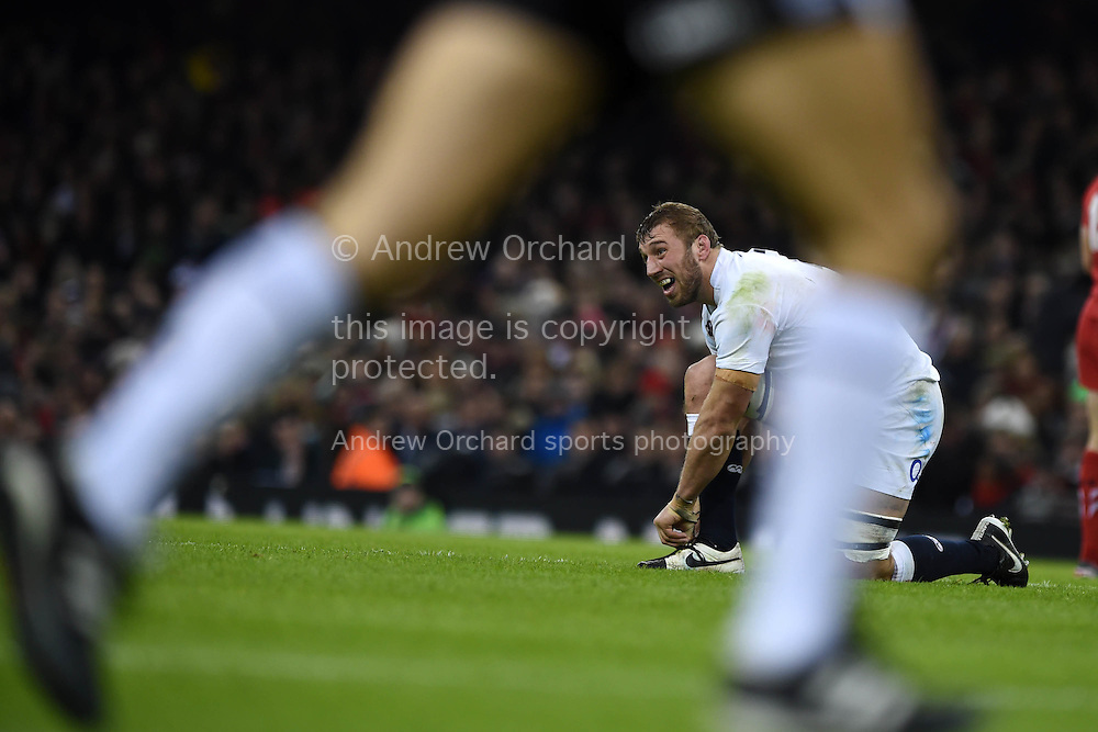 Chris Robshaw, the England capt looks on.RBS Six nations championship 2015, Wales v England at the Millennium Stadium in Cardiff, South Wales on Friday 6th  Feb 2015. pic by Andrew Orchard, Andrew Orchard sports photography.