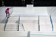 Nyjah Huston, USA, during the men's semi final of the Street League Skateboarding World Tour Event at Queen Elizabeth Olympic Park on 26th May 2019 in London in the United Kingdom. The SLS World Tour Event will take place at the Copper Box Arena during the 25-26 May, 2019.