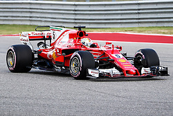 October 21, 2017 - Austin, Texas, U.S - Ferrari driver Sebastian Vettel (5) of Germany in action during the final practice before the Formula 1 United States Grand Prix race at the Circuit of the Americas race track in Austin,Texas. (Credit Image: © Dan Wozniak via ZUMA Wire)