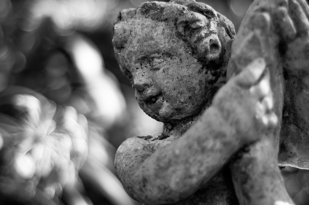 Stone statue closeup of a cherub.
