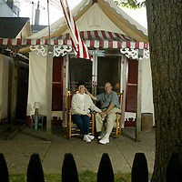 (PPAGE1) Ocean Grove 5/23/2002   Ruth and Richard LeDuc sits outside there Ocean Grove Tent.  They have leased the same tent for the past 20 years and look forward to another summer season.   Michael J. Treola Staff Photographer........MJT