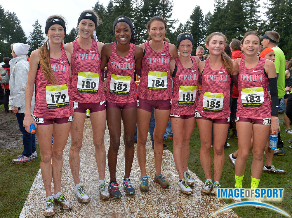 Dec 6, 2014; Portland, OR, USA; Members of the Great Oak girls team pose after placing second in the 2014 Nike Cross Nationals at Glendoveer Golf Course. From left: Kiyena Beatty (179), Desiree Stinger (180), Destiny Collins (182), Maiya Larsen (184), Sydney Bellus (181), Emily Clause (185) and Sandra Plughoft (183). Mandatory Credit: Kirby Lee-USA TODAY Sports