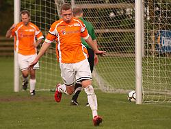 FODBOLD: Casper Sørensen (Helsingør) jubler efter sin scoring til 2-0 under kampen i Ekstra Bladet Cup mellem B73, Slagelse og Elite 3000 Helsingør den 26. maj 2010 på Stadion Vest, Slagelse. Foto: Claus Birch