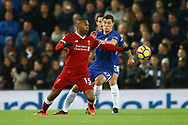 Daniel Sturridge of Liverpool (l) and Andreas Christensen of Chelsea battle for the ball. Premier League match, Liverpool v Chelsea at the Anfield stadium in Liverpool, Merseyside on Saturday 25th November 2017.<br /> pic by Chris Stading, Andrew Orchard sports photography.