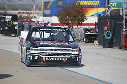 November 1, 2018 - Fort Worth, TX, U.S. - FORT WORTH, TX - NOVEMBER 01: NASCAR Camping World Truck Series driver Sheldon Creed (2) drives down pit road during practice for the NASCAR Camping World Truck Series JAG Metals 350 on November 1, 2018 at Texas Motor Speedway in Fort Worth, TX. (Photo by George Walker/Icon Sportswire) (Credit Image: © George Walker/Icon SMI via ZUMA Press)