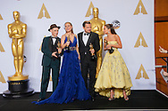 88th Academy Awards press room.<br /> Leonardo DiCaprio, Brie Larson, Mark Rylance, and Alicia Vikander.