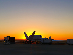 Jun 27, 2017 - Edwards Air Force Base, California, U.S. - Southern California's Antelope Valley heat forces aircraft operations to start early before the sun rises. On a back ramp at Armstrong Flight Research Center on Edwards Air Force Base, a NASA Global Hawk goes through testing of its communication components and satellite connection links for the International Maritime Satellite Terminal, or Inmarsat, in preparation for flight. With temperatures at 100 degrees, testing usually ceases by 1 p.m. as fuel and onboard computers become too hot to operate. (Credit Image: ? Michael Bereda/NASA via ZUMA Wire/ZUMAPRESS.com)
