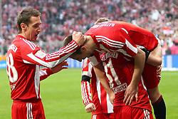 12.03.2011, Allianz Arena, Muenchen, GER, 1.FBL, FC Bayern Muenchen vs Hamburger SV, im Bild  Jubel nach dem Tor zum 6-0 durch Franck Ribery (Bayern #7) mit Bastian Schweinsteiger (Bayern #31) Miroslav Klose (Bayern #18)  , EXPA Pictures © 2011, PhotoCredit: EXPA/ nph/  Straubmeier       ****** out of GER / SWE / CRO  / BEL ******