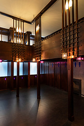 Interior of the Oak Room originally by Charles Rennie Mackintosh at new V&A Museum on first weekend after opening in Dundee , Scotland, UK.