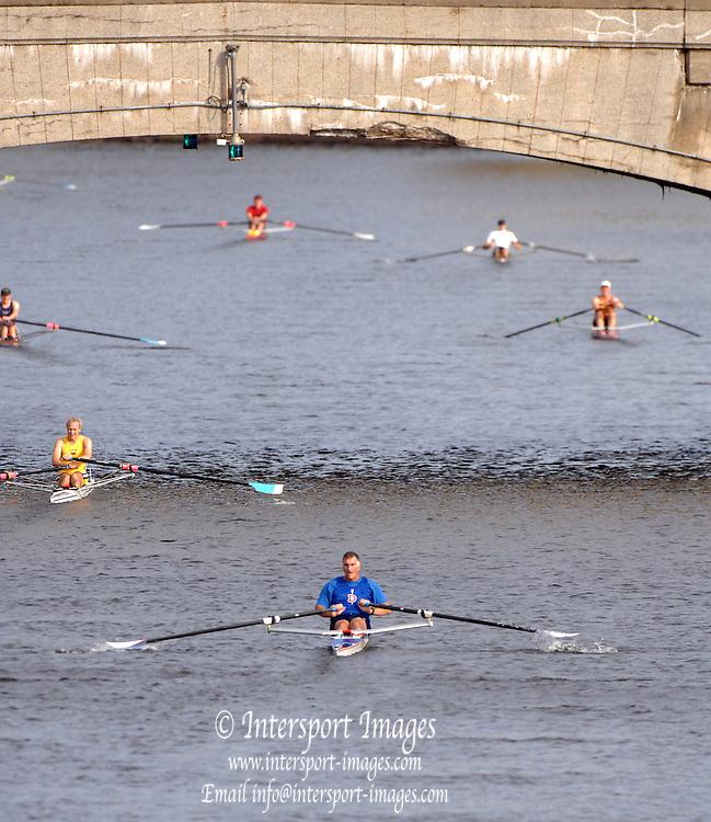 Boston, USA, Senior Master Men's Singles. Head of the Charles, Race Charles River,  Cambridge,  Massachusetts. Sunday  20/10/2007  [Mandatory Credit Peter Spurrier/Intersport Images]..... , Rowing Course; Charles River. Boston. USA