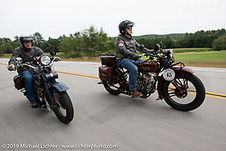 Australians and Great Race organizers Dave Reide (on his Harley) and Peter Arunde (on his Indian) riding in the Motorcycle Cannonball coast to coast vintage run. Stage-1 (145-miles) from Portland, Maine to Keene, NH. Saturday September 8, 2018. Photography ©2018 Michael Lichter.