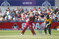 July 1, 2019 - Chester Le Street, County Durham, United Kingdom - West Indies' Shimron Hetmyer gets an inside edge during the ICC Cricket World Cup 2019 match between Sri Lanka and West Indies at Emirates Riverside, Chester le Street on Monday 1st July 2019. (Credit Image: © Mi News/NurPhoto via ZUMA Press)