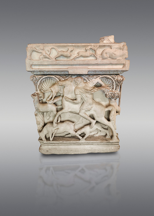 """End panel of a Roman relief sculpted sarcophagus with kline couch lid, """"Columned Sarcophagi of Asia Minor"""" style typical of Sidamara, 3rd Century AD, Konya Archaeological Museum, Turkey. Against a grey background .<br /> <br /> If you prefer to buy from our ALAMY STOCK LIBRARY page at https://www.alamy.com/portfolio/paul-williams-funkystock/greco-roman-sculptures.html . Type -    Konya     - into LOWER SEARCH WITHIN GALLERY box - Refine search by adding a subject, place, background colour, museum etc.<br /> <br /> Visit our ROMAN WORLD PHOTO COLLECTIONS for more photos to download or buy as wall art prints https://funkystock.photoshelter.com/gallery-collection/The-Romans-Art-Artefacts-Antiquities-Historic-Sites-Pictures-Images/C0000r2uLJJo9_s0"""
