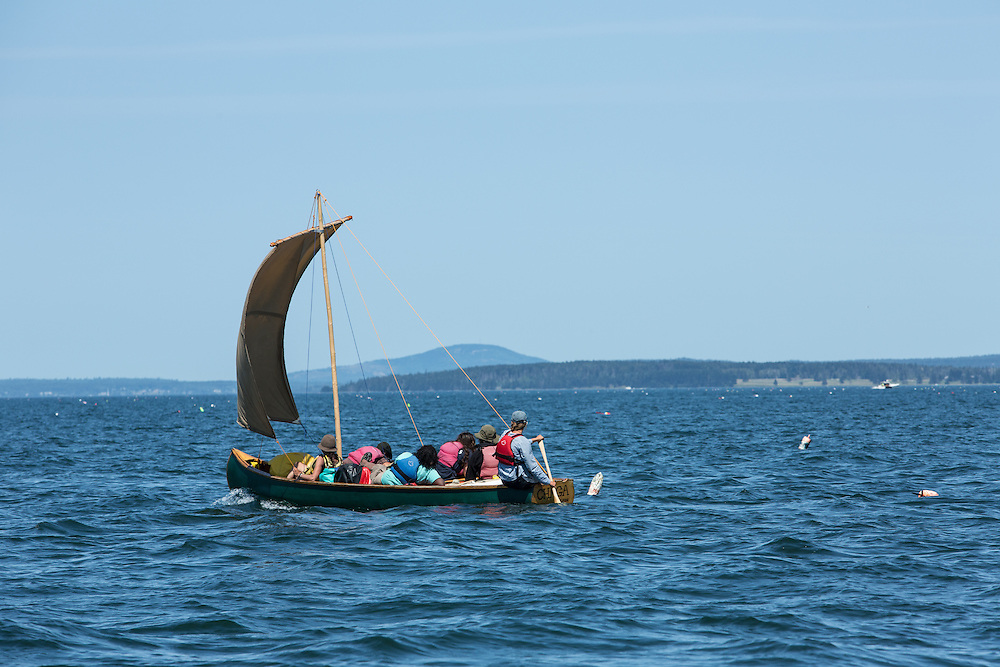 Penobscot Bay, ME - 12 August 2014. Square-sterned sailing canoe Chaga sailing up the bay.