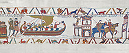 Bayeux Tapestry scene 23 : Having sworn fealty to Duke William Harold sails back to England. BYX23 .<br /> <br /> If you prefer you can also buy from our ALAMY PHOTO LIBRARY  Collection visit : https://www.alamy.com/portfolio/paul-williams-funkystock/bayeux-tapestry-medieval-art.html  if you know the scene number you want enter BXY followed bt the scene no into the SEARCH WITHIN GALLERY box  i.e BYX 22 for scene 22)<br /> <br />  Visit our MEDIEVAL ART PHOTO COLLECTIONS for more   photos  to download or buy as prints https://funkystock.photoshelter.com/gallery-collection/Medieval-Middle-Ages-Art-Artefacts-Antiquities-Pictures-Images-of/C0000YpKXiAHnG2k