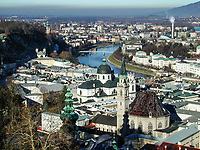 View of Salzburg, Austria, from the Hohensalzburg Fortress (castle). Ref: 2000121179.<br /> <br /> Copyright Image from Victor Patterson, Belfast, UK<br /> <br /> t: +44 28 9066 1296 (from Rep of Ireland 048 9066 1296)<br /> m: +44 7802 353836<br /> e: victorpattersonbelfast@gmail.com<br /> <br /> www.images4media.com<br /> <br /> Please see my full Terms and Conditions of Use at https://www.images4media.com/p/terms-conditions - it is IMPORTANT that you familiarise yourself with them.<br /> <br /> Images used online incur an additional cost. This cost should be agreed in writing in advance. Online images must be visibly watermarked i.e. © Victor Patterson or that of the named photographer within the body of the image. The original metadata must not be deleted from images used online.<br /> <br /> This image is only available for the use of the download recipient i.e. television station, newspaper, magazine, book publisher, etc, and must not be passed on to a third party. It is also downloaded on condition that each and every usage is notified within 7 days to victorpattersonbelfast@gmail.com.<br /> <br /> The right of Victor Patterson (or the named photographer) to be identified as the author is asserted in accordance with The Copyright Designs And Patents Act (1988). All moral rights are asserted.