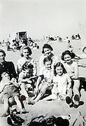 family beach scene 1940s
