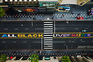 The Dolby Theater in Hollywood. There is no visible preparations for the Academy Awards Show that will be held in a couple of days. An All Black Lives Matter sign remains painted on Hollywood Blvd. in front of the theater. <br /> 4/22/2021 Hollywood, CA USA<br /> (Photo by Ted Soqui)