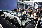 The Faraday Future Inc. FFZero1 concept vehicle stands on display at the Beijing International Automotive Exhibition in Beijing, China, on Tuesday, April 26, 2016. Bought by Chinese streaming service billionaire Jia Yueting, the company has since been mired in controversy as Jia is being accused of cheating on his investors. China is leading the way to move towards new energy vehicles especially electrification as it sees an opportunity to leap frog traditional powerhouses in the automobile industry.