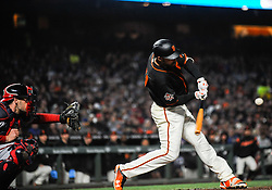 April 23, 2018 - San Francisco, CA, U.S. - SAN FRANCISCO, CA - APRIL 23: San Francisco Giants left fielder Mac Williamson (51) connects for a base hit to drive in a run in the forth inning during the regular season baseball game between the San Francisco Giants and the Washington Nationals on April 23, 2018 at AT&T Park in San Francisco,CA (Photo by Samuel Stringer/Icon Sportswire) (Credit Image: © Samuel Stringer/Icon SMI via ZUMA Press)