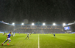 General view of match action in the rain